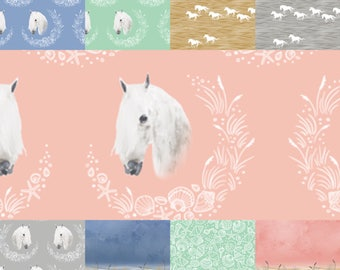 Custom crib bedding, equestrian crib bedding, crib bumpers, skirt, sheet, quilt, teething guard, change pad cover, curtains