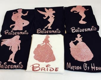 Disney Princess Bridal Party Set, Disney Bridesmaids Shirts, Disney Bachelorette Shirts, Matching Disney Bridal Party, Disney Wedding,