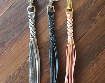 Handbag Charms, Leather Tassel Keyring, Tassel Keychain Charm, Metallic Tassel, Leather Keychain, Braided Leather Keychain, Leather Key Fob