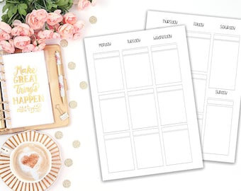 A5 Wo2P vertical printable planner insert - Filofax A5 - Kikki K Large - print at home - planner refill - Erin Condren Style - weekly agenda