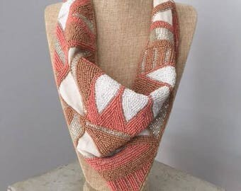 Beaded White, Peach, & Taupe Necklace Scarf