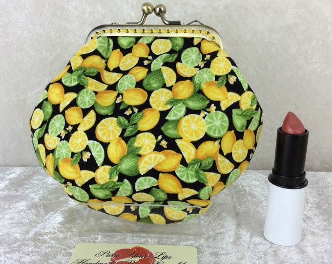 Lemons and Limes Amy frame coin purse wallet hand stitched handmade in England