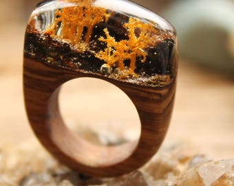 Yellow ring Nature jewelry Epoxy resin Wooden ring Woman wooden ring Clear ring Terrarium jewelry organic woodland ring resin ring moss ring