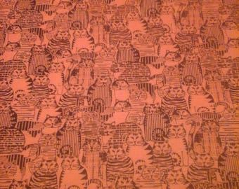 Cat Fabric Benartex Screen Print  1 yard Cotton