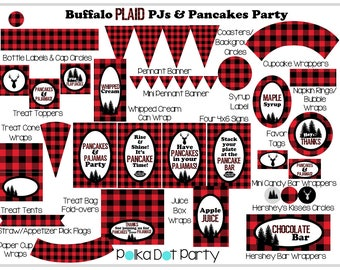Buffalo Plaid PJs and Pancakes Party Printable