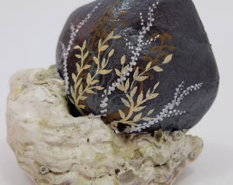 Oyster Shell and Rock Ocean Theme--Hand-Painted Beach Rock