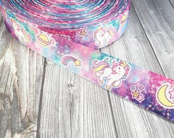 Unicorn ribbon - Magical unicorn - Stars and moon - Pretty ribbon - Tie dye effect - Colorful ribbon - Pink and blue - DIY unicorn bow