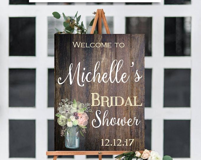 RUSTIC BRIDAL SHOWER Sign, Flower Bridal Shower Sign, Bridal Shower Template, Rustic Bridal Shower, Rustic, Baby Shower, Template, You Edit