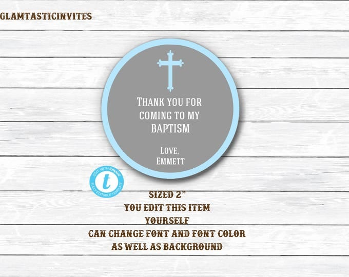 Baptism Thank You Tags, Christening Thank You Tags, Boy Baptism Tag, You Edit, Template Thank You Tags, Baptism Thank You Template, Template