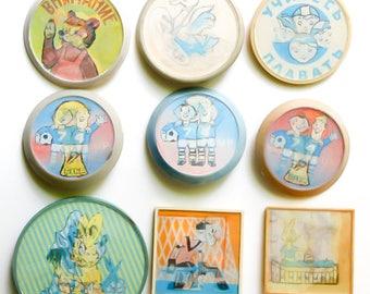 Set badges Russian badge pins Cartoon Characters holographic badge 3d pin stereo pin badge ussr badges pins vintage button set cartoon pin