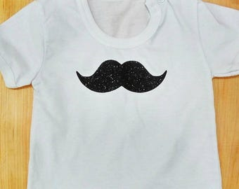 Child T-shirt with mustache Gentleman  cotton tee