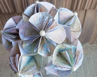 Map flowers, map paper flowers, paper flowers, vintage wedding, traveler flowers