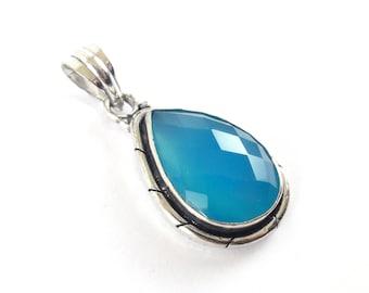 Aqua Chalcedony pendant 925 Silver-Mens Blue Chalcedony pendant-Vishuddha Necklace