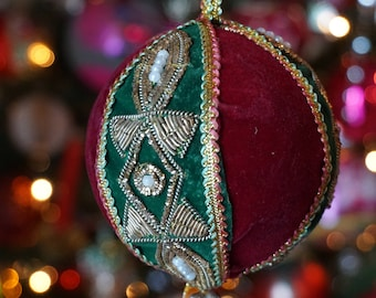 Gold Embroidered Christmas Ornament/ zardozi style embroiderry/ Gold Metal Threads/ Seed Pearls/ Velvet Ball