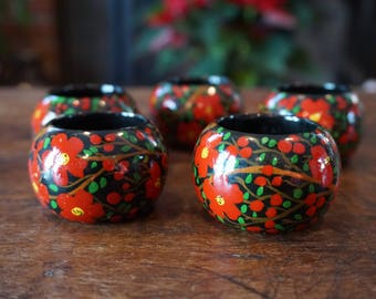 Set of 5 Vintage  AAAH Lacquered Hand Painted Napkin Rings/Made in India/ Perfect for Christmas/ Boho Chic Christmas/ Wedding decor