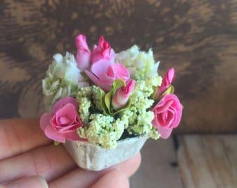 Dollhouse Miniature flower cart and boquet, shabby chic miniature, fairy garden flower cart