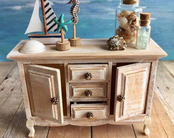 Beach sideboard, Miniature furniture, Dollhouse cabinet