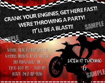 MOTOCROSS Racing Dirt Bike Invitation MOTORCROSS Boys Birthday Party Theme Moto cross Personalized Motor Boy Race motorcycle