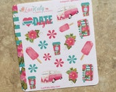 Summer Fun Decorative Planner Stickers: Suitable for use with  inkWELL Press Planner  or Erin Condren Lifeplanner   Luckaty