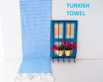 Royal Blue Turkish Towel,Thin Royal Blue towel,Striped Royal Blue Towel,Striped Beach Towel,Blue beach towel,striped fouta,Blue Peshtemal