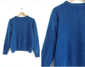 80s Wool Sweater Speckled Cerulean Blue Sweater Pullover Crew Neck Sweater Made in Italy Ribbed Wool Womens Jumper Large