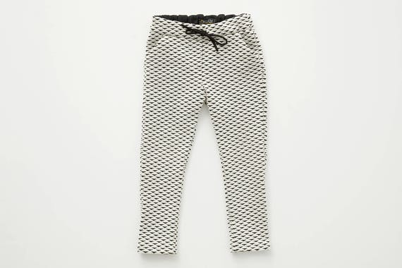 PAS D'ÂNE - dress pant with prints, skinny fit for kids: boys and girls - white with triangles print