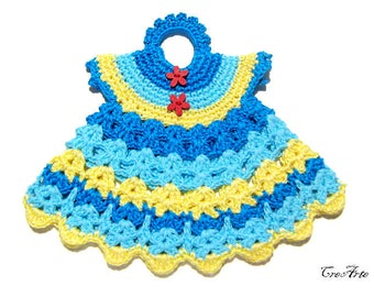 Yellow and Blue crochet dress potholder, presina vestitino giallo e blu all'uncinetto