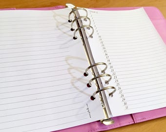 Month on One page - Horizontal - Insert A5 - Filofax - Kikki K - Paperchase - Planner - Ring Binder - 6 holes punched - Undated