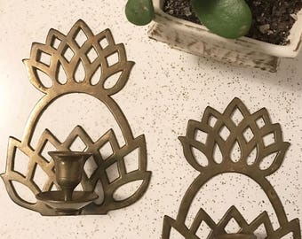 Vintage Brass Pineapple Wall Sconce Candle Holders