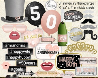Photo Booth Props, HAPPY 50TH ANNIVERSARY, party, black, silver, rose gold, pink, selfie station, printable sheets, instant download