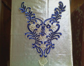 19) Blue and White Sequin and Bead Applique