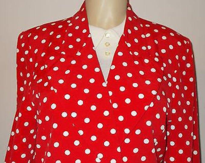 Vintage 90s Classic BCBG Paris Sportswear Red White Polka Dot Polyester Womens Long Sleeve Blazer Jacket M