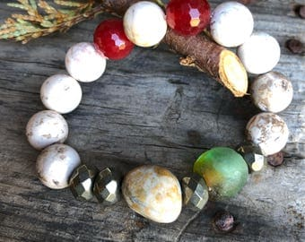 Jasper Pyrite Agate Gemstones & African Recycled Trade Glass Boho Zen Bracelet