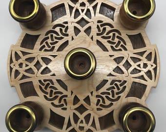 Celtic Cross Advent Wreath - Maple & Walnut