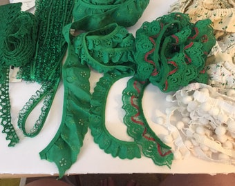 Lot of Green & Holiday Sewing Trims