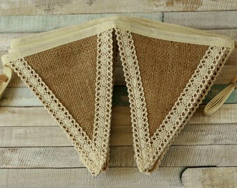 Fall wedding decorations, rustic hessian bunting, burlap fabric garland, rustic lace banner, rustic wedding, burlap banner, hessian decor