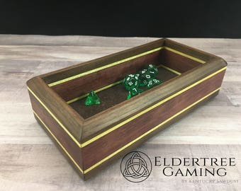 Premium Dice Tray - Personal Sized - King's Court With Leather Rolling Surface - Eldertree Gaming