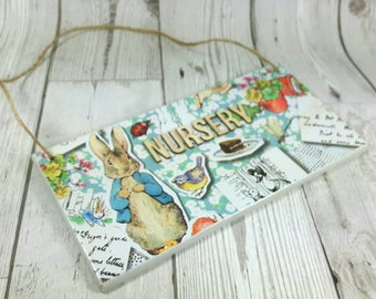 Personalised Peter Rabbit Wooden Door Plaque/Sign