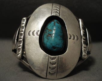 Museum Vintage Navajo 'Red Mountain Turquoise' Silver Bracelet