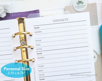 PRINTED Address list planner insert - Contacts list page refills - Contact info sheets - Personal size planner refill - P34