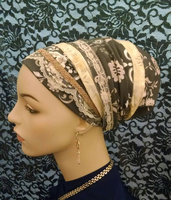 Exquisite floral cotton and lace Sinar tichel, tichels, apron tichels, head wraps, chemo scarves, mitpachat