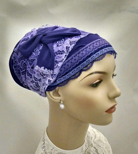 Purple dressy sinar tichel with bead accents, tichels, hair scarf, chemo scarves, hair snoods