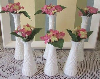 Wedding White Vase, VINTAGE Milk Glass Set Of 3 Large And 3 Small, Bud Vase, VINTAGE 1970'S Holiday Decor, Gift For Wedding Decor