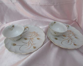 VINTAGE Handpainted Snack Set Plate And Teacup, vintage Lefton Shell Shaped luncheon Plate Set, Tea Party