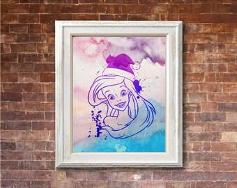 "Ariel Christmas watercolor ,8""x10""  JPEG & PDF file , Inspirational Quote, Digital Prints,Wall Art Prints, Digital Download"