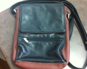 Vintage Mans Purse - Leather Messanger Bag - Brown and Black Leather Purse - Crossbody Bag