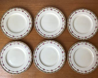 """Grindley England """"Merlin"""" Plates, Vintage Ceramic Side Plates, Cherries and Roses Bread and Butter Plates"""