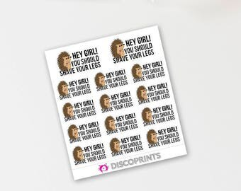 Porcupine Shave Your Legs Reminders (14 Matte Planner Stickers)