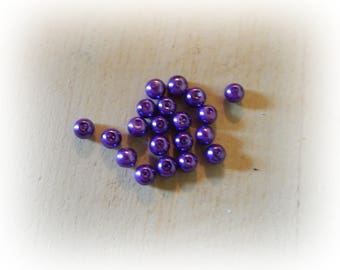 20 round glass purple color mother of Pearl effect beads - 6 mm