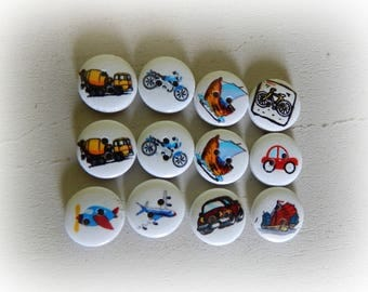 12 buttons round pattern wood vehicle 15 mm